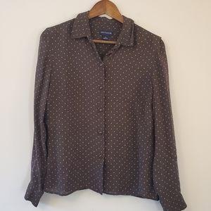 Ann Taylor silk blouse brown blue polka dot sz 12